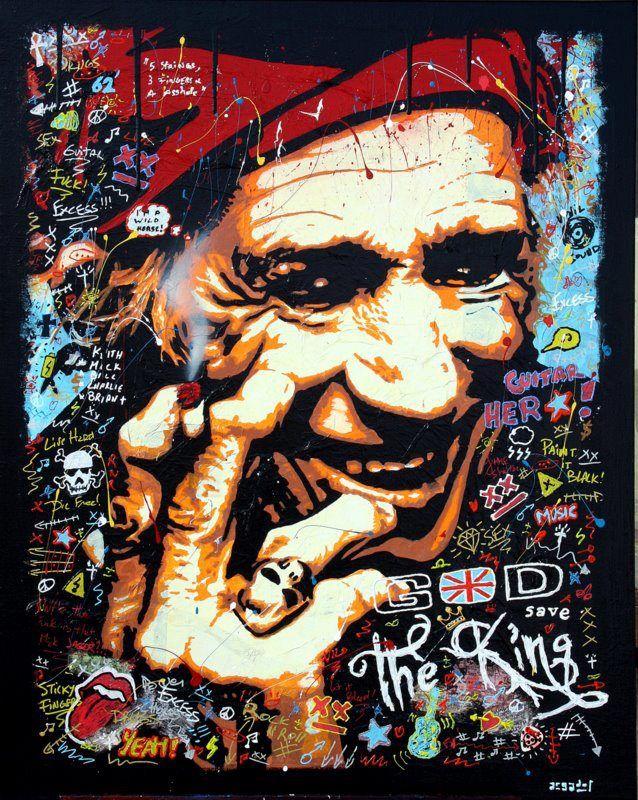 GOD SAVE THE KING ! technique mixte sur toile de 81cm x 100cm