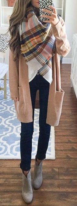 Plaid Blanket Scarf + Camel Cardigan + Black and White                                                                             Source