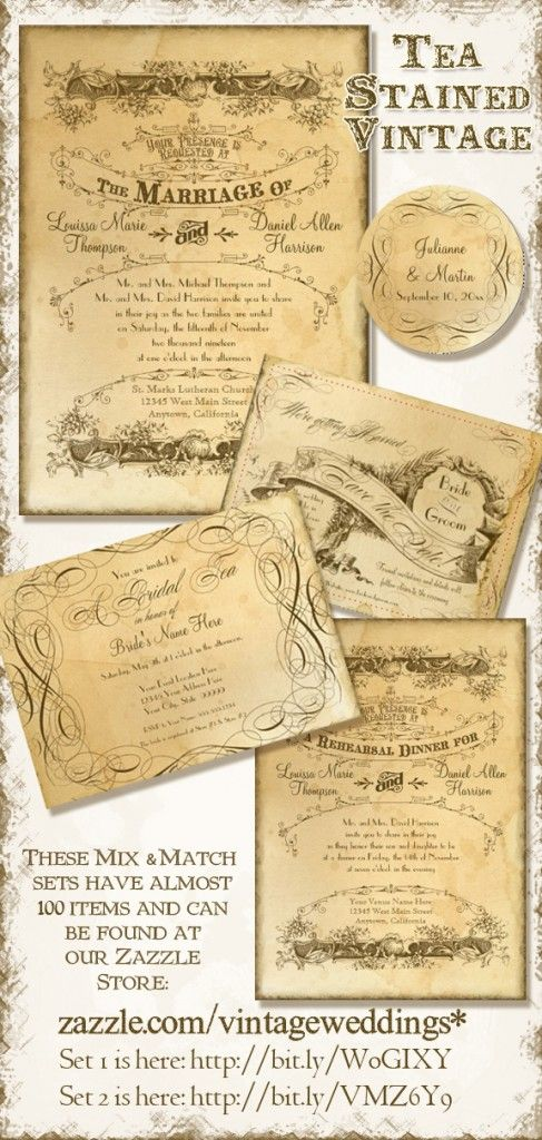 Extensive Tea Stained Vintage Typography Wedding Invitation Collection.  Mix and Match.  Perfect for Barn Style, Rustic, Victorian or Vintage Style Weddings, Bridal Showers, Rehearsal Dinners, Reception Decor and more.  Even better, it's quite inexpensive.