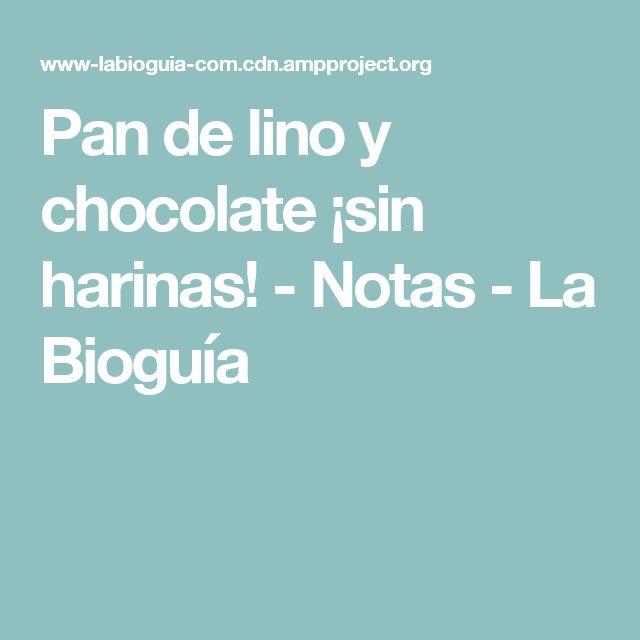 Pan de lino y chocolate ¡sin harinas! - Notas - La Bioguía