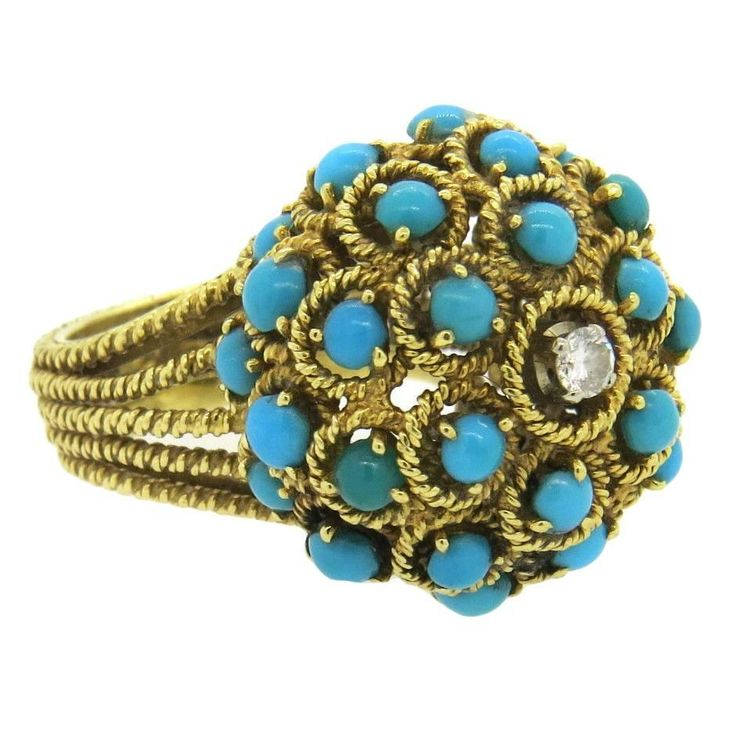 1960s Gold Turquoise Diamond Large Ring  | From a unique collection of vintage cocktail rings at https://www.1stdibs.com/jewelry/rings/cocktail-rings/