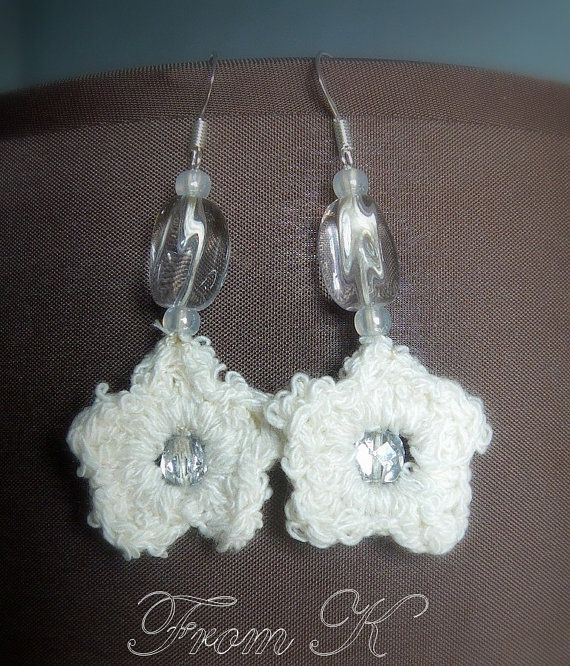 Crochet star shaped earrings decorated with Czech seed by FromK, $3.50