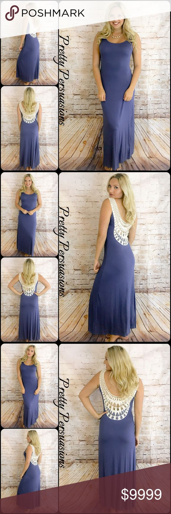 """NWT Indigo Crochet Back Boho Maxi Dress Available in sizes S, M, L Measurements taken from a small Length: 58"""" Bust: 34"""" Waist: 30"""" **Measurements taken unstretched**  NOTE: Model is a size S/4 w/a 34D bust & is pictured modeling a S  Features • stunning crochet lace scoop back accent • scooped neckline • full length maxi • soft, breathable, jersey material w/stretch • easy, accommodating fit  Bundle discounts available No pp or trades  Item # 1/3JC2/P106200450ICD  crochet lace white jersey…"""