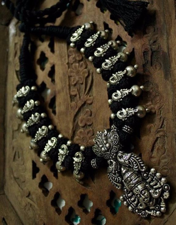 Vishnu Thread Necklace Set With Oxidised German Silver Temple Pendant With Earring