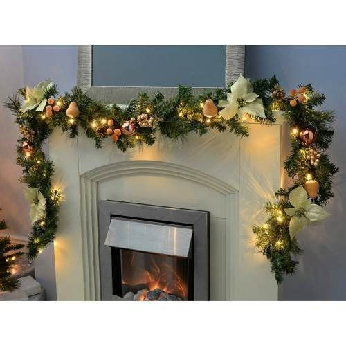 Pre-Lit Christmas Garland Home Decoration White Gold Multi Colored Led Light 9Ft