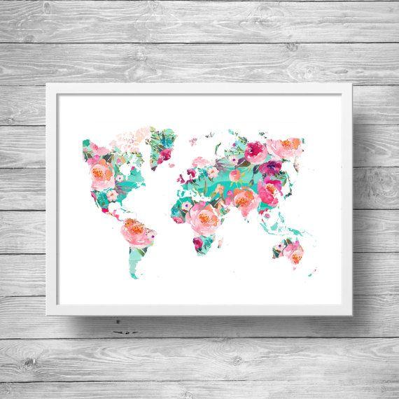 Digital art  Carte du monde  Carte du monde aquarelle