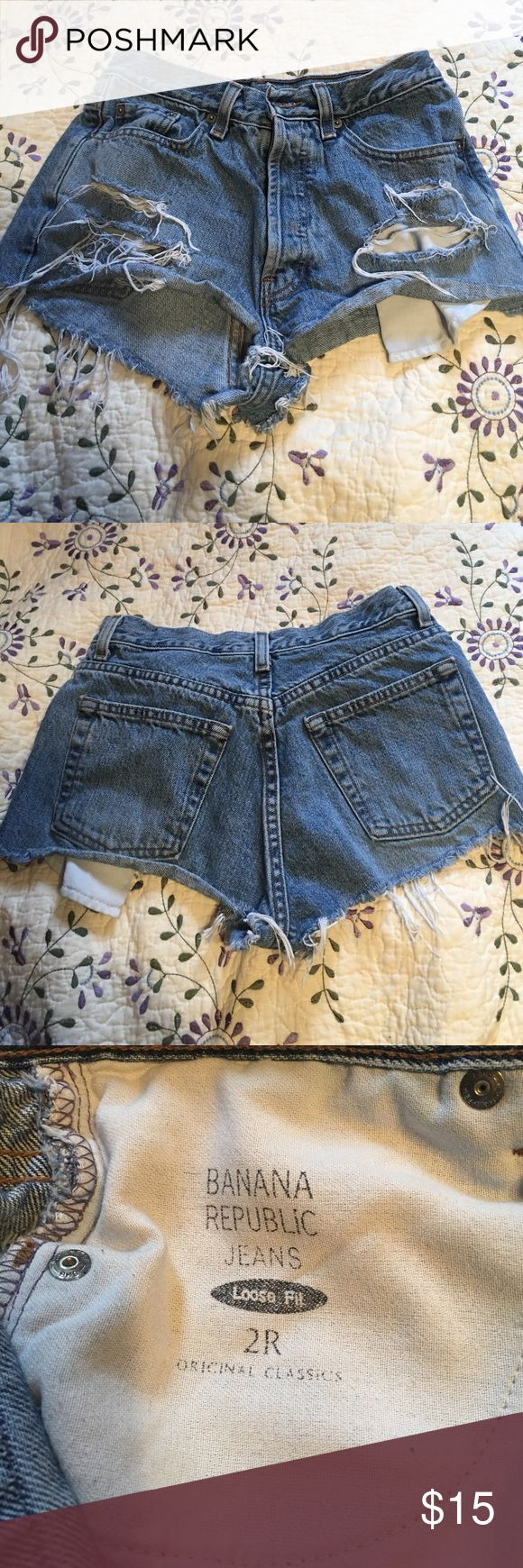 Banana Republic jean shorts Adorable and fun Daisy Duke type shorts from Banana Republic. I bought these from another posher but they did not fit me. They are size 2 but fit more like a 0. Banana Republic Shorts Jean Shorts