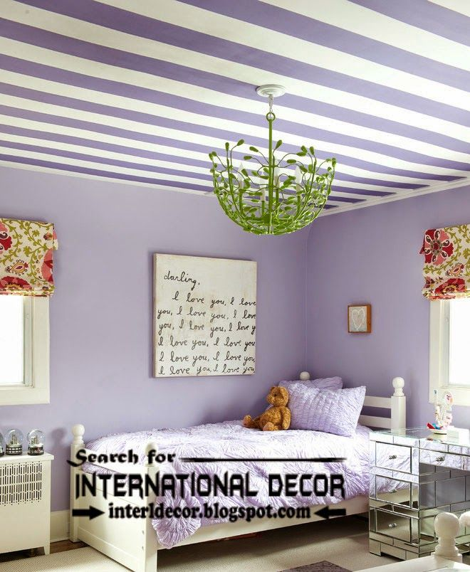 Striped Ceiling Paint Designs For Nursery, Kids Ceiling