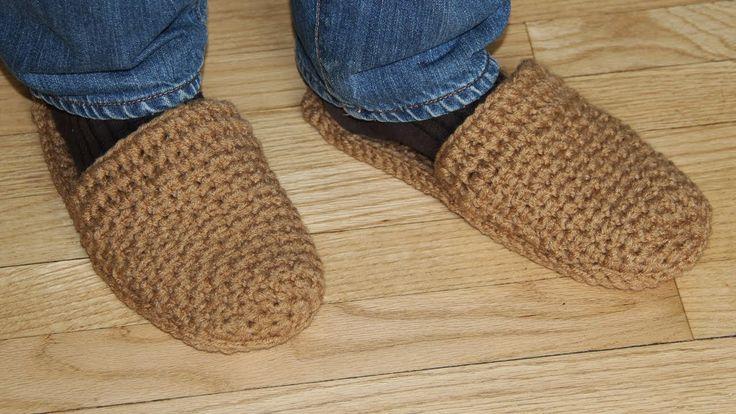How to crochet men's slippers - video tutorial for beginners
