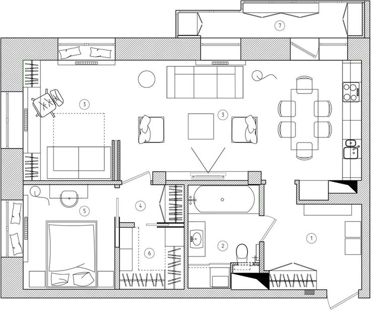 Alaprajz - Modern és klasszikus harmóniája 79m2-en, egy amerikai stílusban berendezett elegáns lakásban