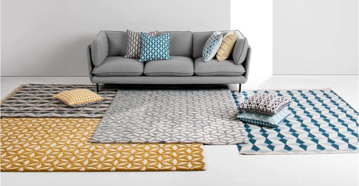 Etruria, tapis tissé à plat 120 x 180 cm, bleu sarcelle | made.com