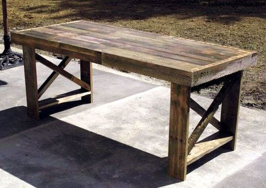 dining table made out of 3 shipping palletts-I was just wondering the best way to find old wood and then I saw this!
