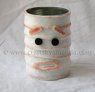 tin can mummy mummy craftshalloween - Halloween Mummy Crafts