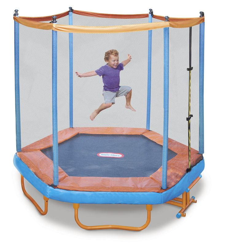 Little Tikes Easy Store Folding Trampoline, 7'. Durable, high-quality pad protector covers the safety springs. The frame is made of durable and high-quality materials. Simple folding design maximizes yard space by making it easy to move large trampolines when not in use. Wheels on the base make it easy to move it out of the way. Designed for home outdoor use only.
