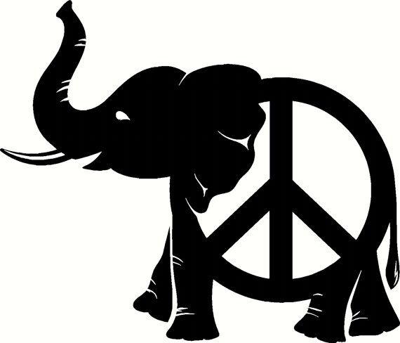 """Peace Elephant  Decal Car/Wall design, quote, art, home decor, sticker, decal, for house, office, car, truck, bumper, tailgate, device, phone, computer, laptop, window, door, wall, or any smooth surface. 4""""x4.5"""" $1.45"""