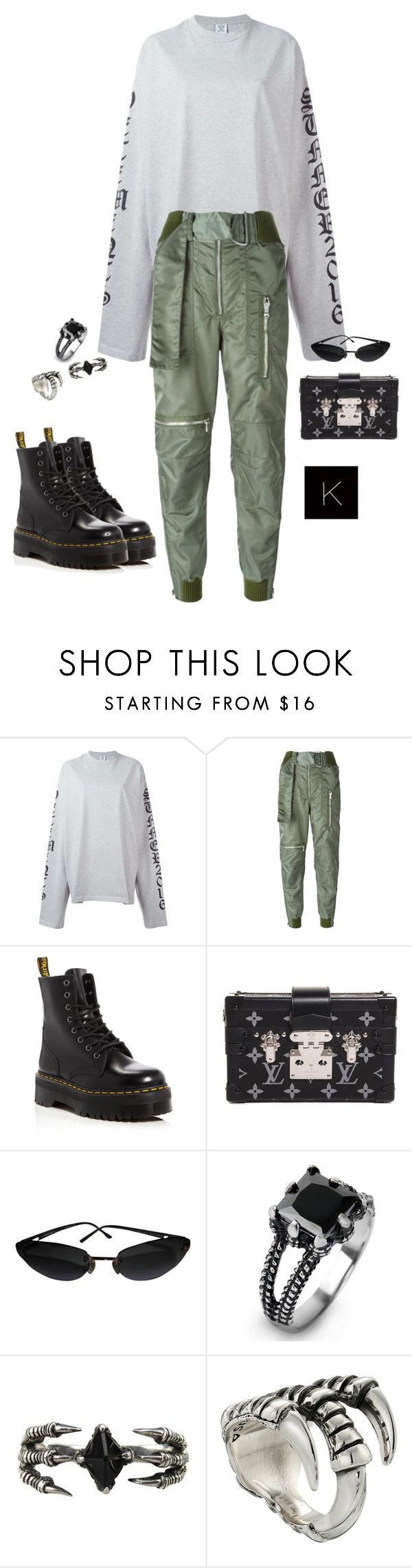 """""""Untitled #4107"""" by kimberlythestylist ❤ liked on Polyvore featuring Vetements, 3.1 Phillip Lim, Dr. Martens, Louis Vuitton, Chanel, West Coast Jewelry, KD2024 and King Baby Studio"""