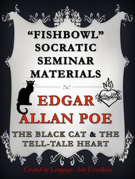 "Socratic Seminar Lesson Plan and Materials for Edgar Allan Poe!   This packet includes everything you need to conduct a structured and formal set of Socratic Seminars in your classroom for Edgar Allan Poe's ""The Tell-Tale Heart"" and ""The Black Cat"" - NO PREPARATION NEEDED!"