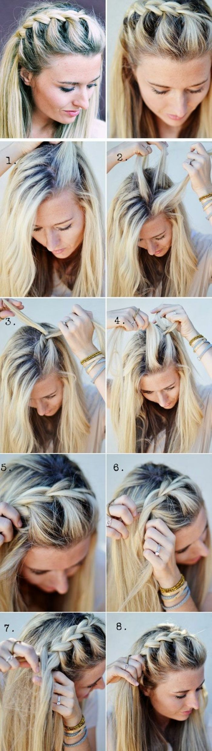 haare flechten   mittellange blonde haare, schöne frisur mit zopf
