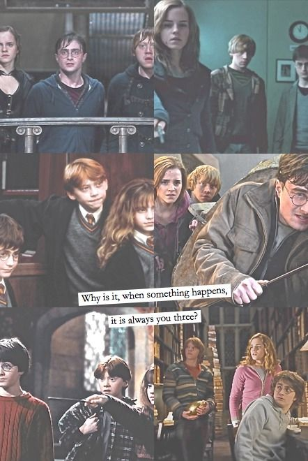 The Golden Trio. Weasley is our king  Brightest witch of our age  The boy who lived