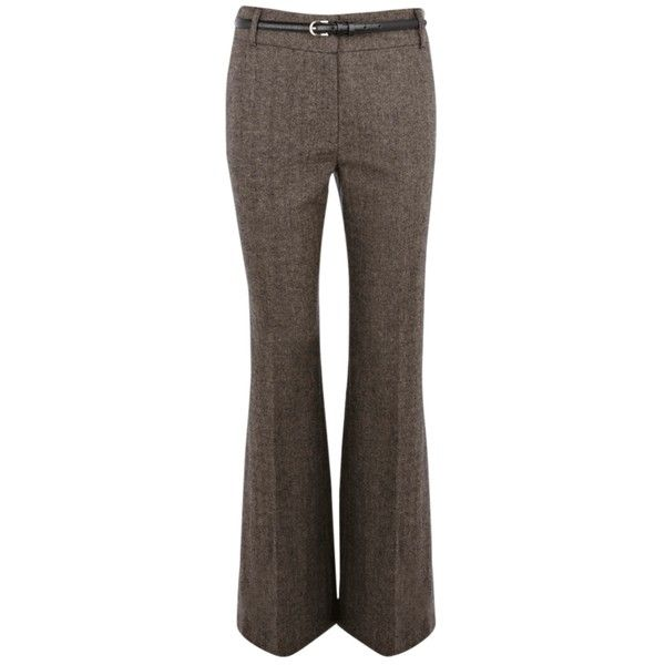 Oasis Tweed Trousers, Brown Multi (£30) ❤ liked on Polyvore featuring pants, bottoms, trousers, jeans, flare pants, brown tweed pants, workwear pants, brown trousers and wool tweed pants