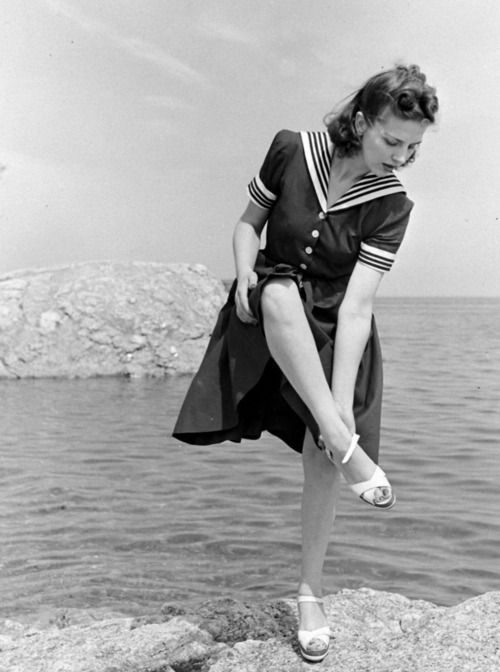 Woman in sailor dress and sandals, LIFE magazine, c. 1940's.