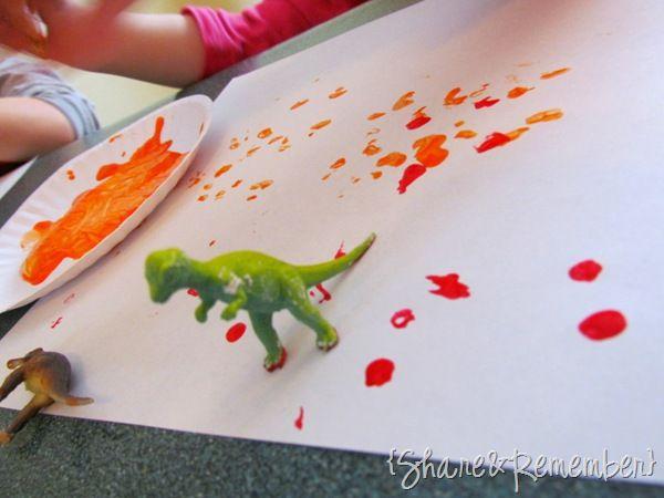 Dinosaur footprints in paint!