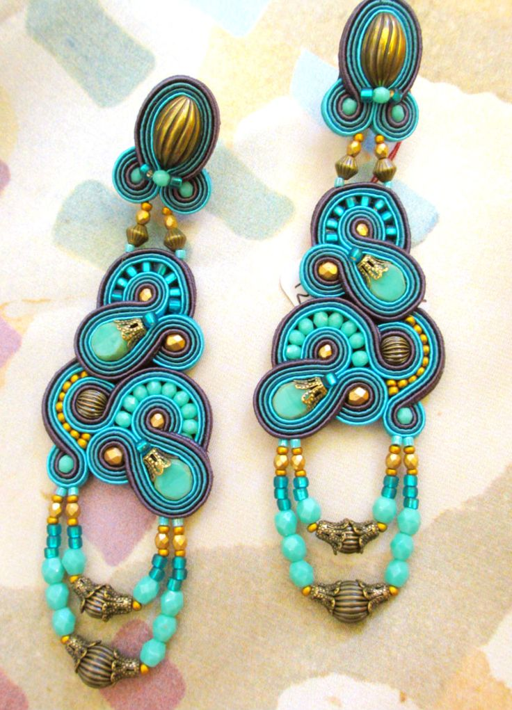 Cythera turquoise color boho earrings by Dori Csengeri. #DoriCsengeri #turquoise #boho #design