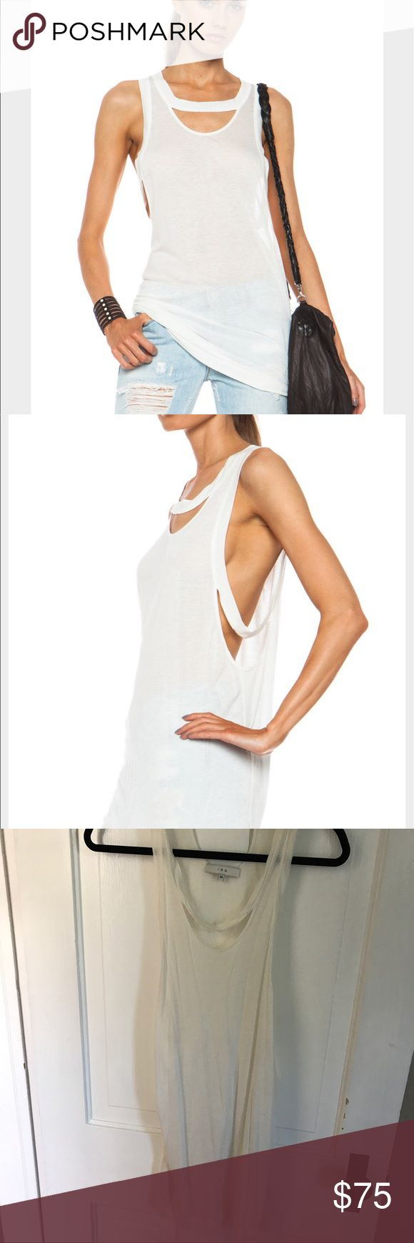 IRO Wade White Viscose Blend Tank IRO Wade tank in natural white. 88% Viscose 12% silk. General wear to fabric. Made in Romania. Cut out detail on front, sides and back. SOLD OUT 🔍 Retailed at $341 on FRWD.com. Fits women sized Small-Medium. EU38. IRO Tops Tank Tops