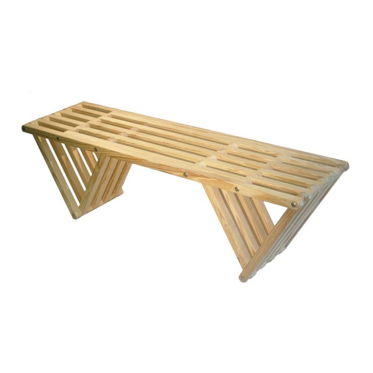 The slim bars of this bench fold artfully into each other, creating a unified form from the many slats. It's crafted from responsibly forested American yellow pine and left unfinished so you can best decide how to enjoy its beauty.