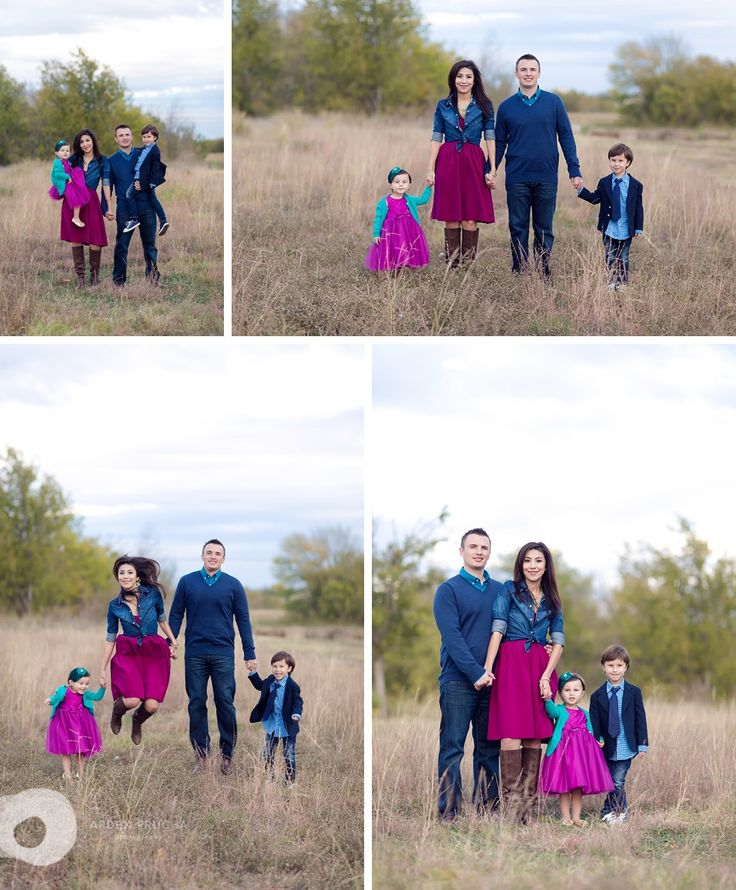 unique outfits for family photos... again, not the typical fall colors,, but it looks great!! I love pops of bright!