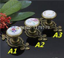 Aldeia rural cerâmica puxadores para móveis gaveta puxa puxadores de bronze…
