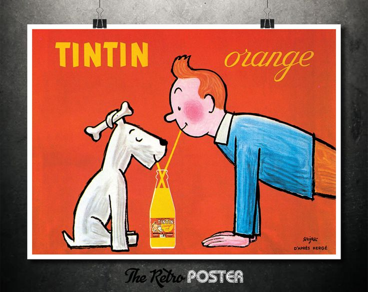 TinTin Orange - Savigac - D'Après Hergè - TinTin and Snowy, Cafe Wall Art, Kitchen Wall Art, Food & Drink, French Advertising Poster Vintage by TheRetroPoster on Etsy