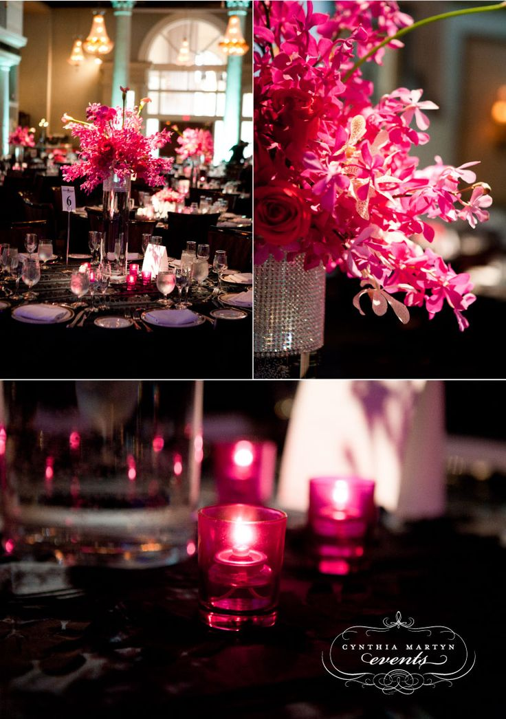hot pink bling centerpieces