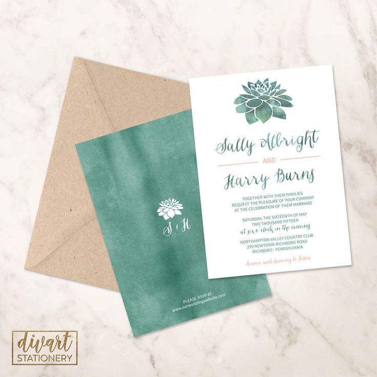 diamond wedding invitations%0A Succulent Wedding Invitation Suite  Response Card  Monogram  PRINTABLE  files  rustic wedding  watercolor succulent  green  coral  Sonja