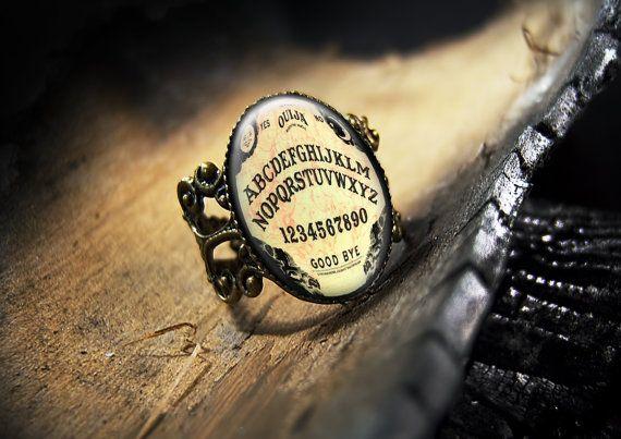 Ouija Board Halloween Horror Glass Bronze Ring by KasketKustoms, $15.99