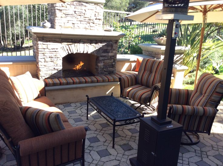 Custom Built Outdoor Fireplace With Love Seat, Club Chairs, #patio Heaters  U0026 Shade