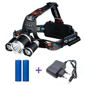 Minger 2500LM 1x Cree T6/2x XPE LED Lampe Frontales Ultra Puissant Phare Vélo Avec Chargeur 2X 18650 Batterie Lithium Rechargeable