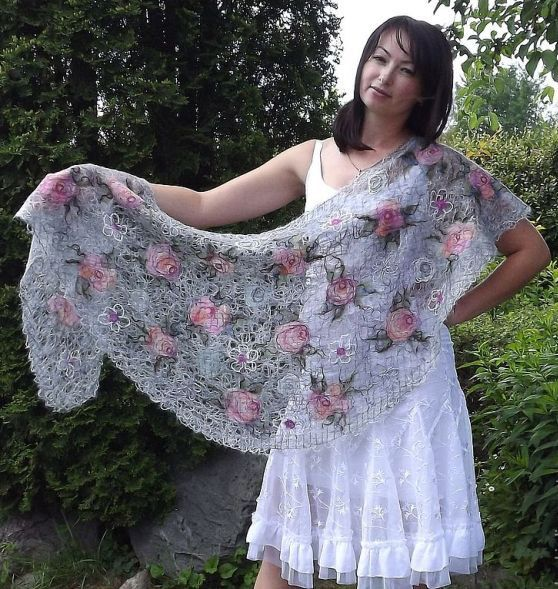 Light gray scarf with pale pink roses-  handmade openwork shawl , for women