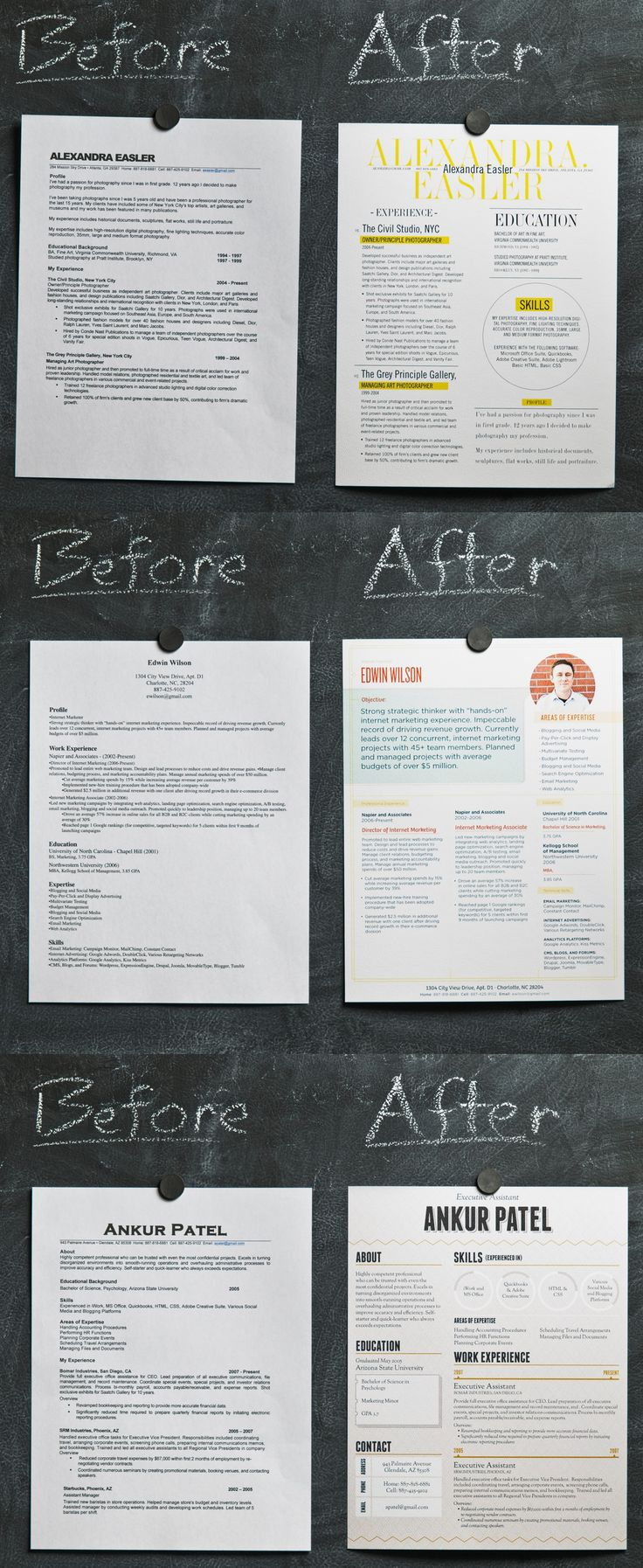 Resume tutorial:  three ways to help your resume look better. When someone looks at your resume verses someone else's, if yours looks like the ones on the right and theirs is on the left, yours will stand out over theirs. #apsucommchat