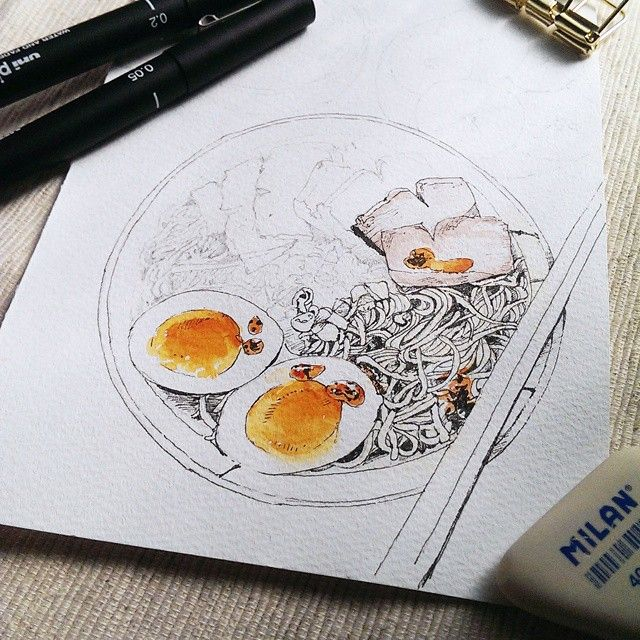 watercolor & ink, 我偶爾也是會畫鹹食啊😋 #illustration#illustrator#watercolor#paint#painting#draw#drawing#art#article#artwork#noodles#breakfast#lunch#egg#delicious#水彩#sketch#pork#ink#pencil#taipei#taiwan#winsorandnewton#手繪