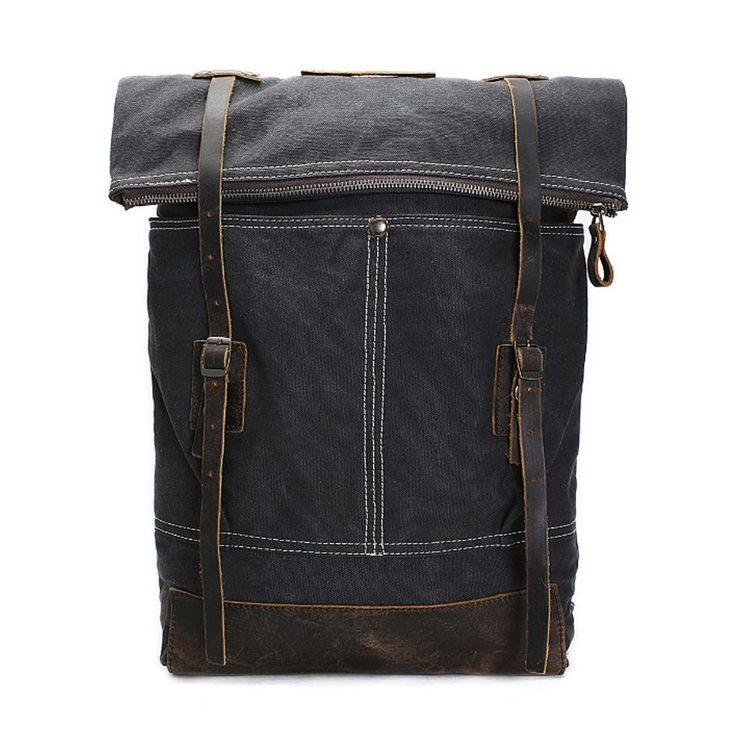 Cityscape || Vintage Roll-Top Canvas Backpack