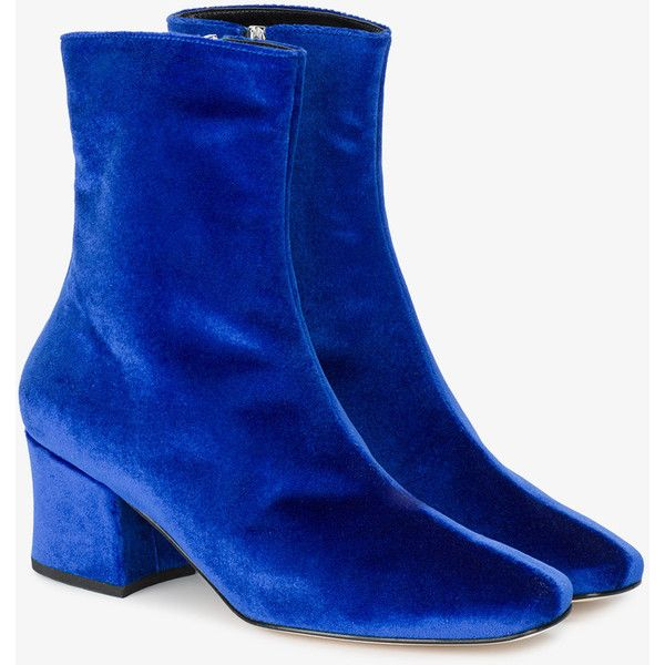 Dorateymur Blue Velvet Sybil Ankle Boots ($445) ❤ liked on Polyvore featuring shoes, boots, ankle booties, bootie boots, blue ankle boots, flat ankle boots, flat booties and flat ankle bootie