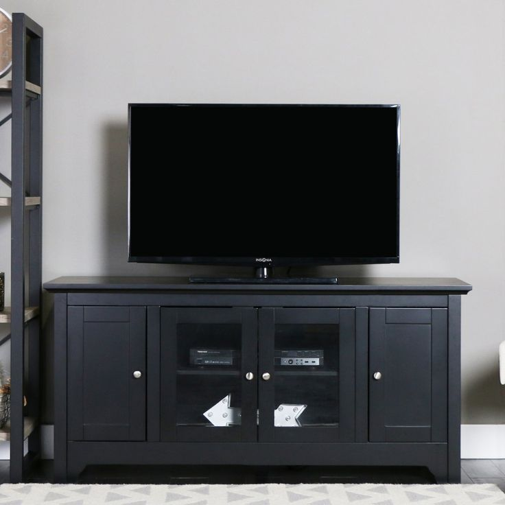 Walker Edison 53-in. Wood TV Console with 4-Doors - Matte Black - TV Stands at Hayneedle