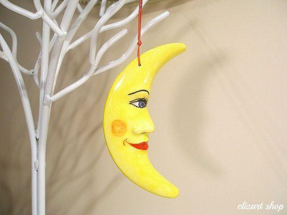 Ceramic moon wall hanging moon moon baby gift moon by elizartshop