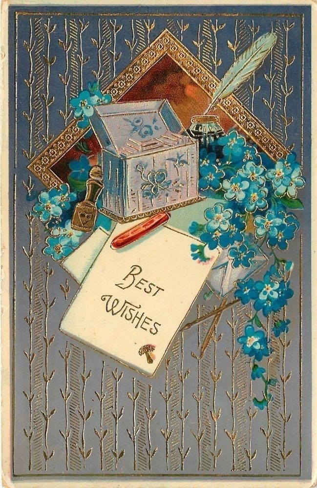 Letter Box~Blue Forget-Me-Nots~Art Nouveau~Ink Well~Quill~Gold Emb~Germany~GEL    eBay