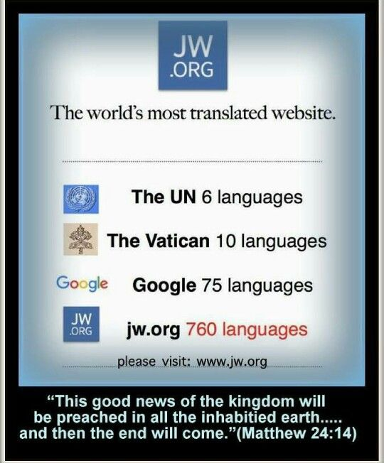 WWW.JW.ORG The most translated website in the world!                                                                                                                                                     More