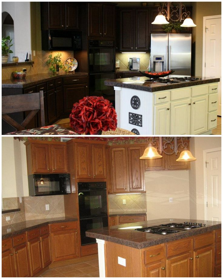 Cabinet update using gel stain gel stains from gf for Can i stain my kitchen cabinets darker