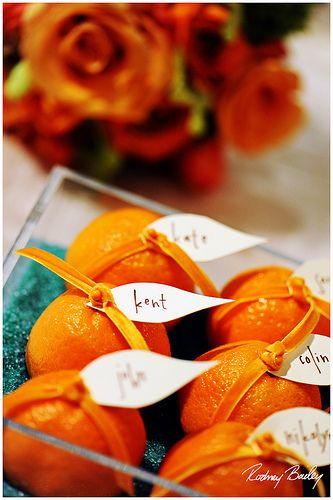 orange/clementine escort cards