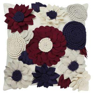 Felt Flower Cushion in Red and Blue W45 x H45 cm