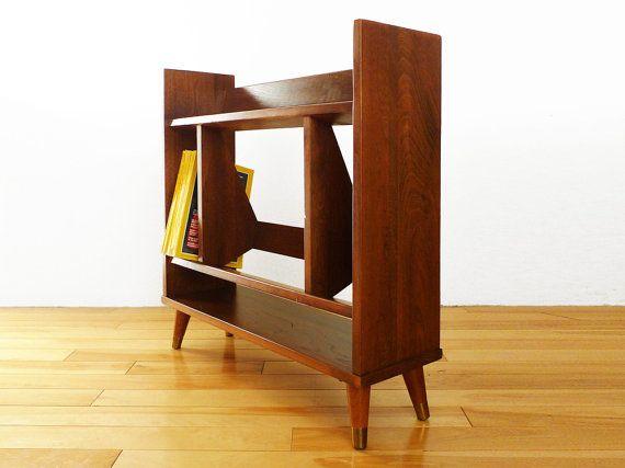 Mid Century Modern Book Rack - Vintage Wood Bookshelf